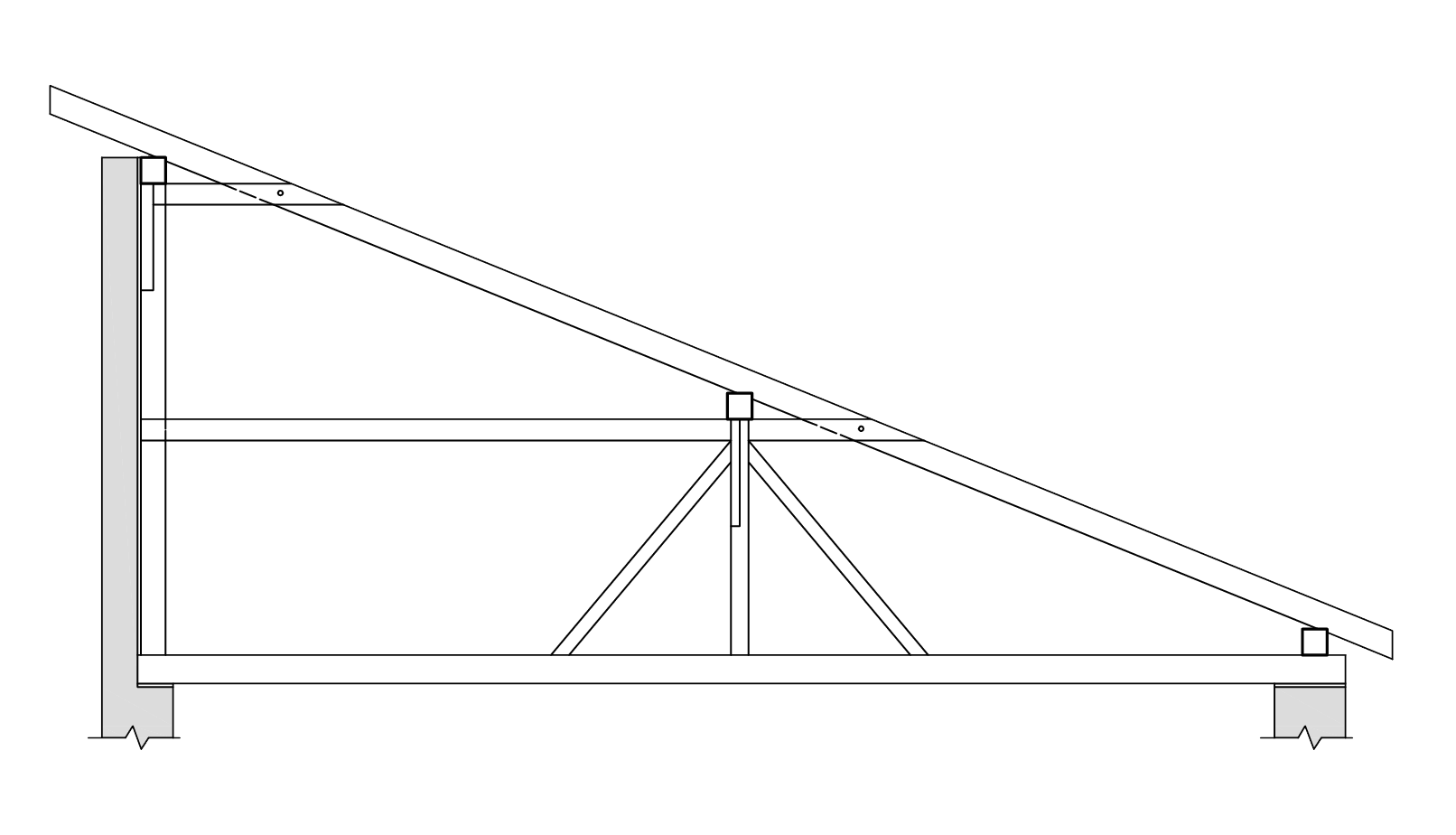 Stojatá stolica v pultovej streche