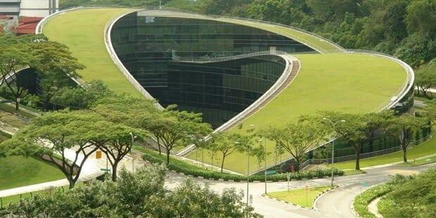 Technologicka-univerzita-Nanyana-v-Singapure-zelena-strecha